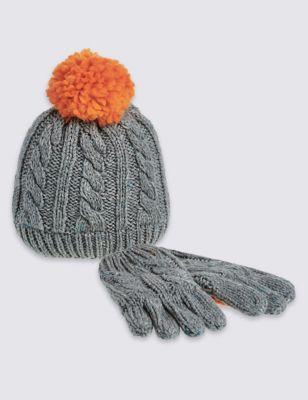 Комплект для мальчика: шапка с цветным помпоном и перчатки