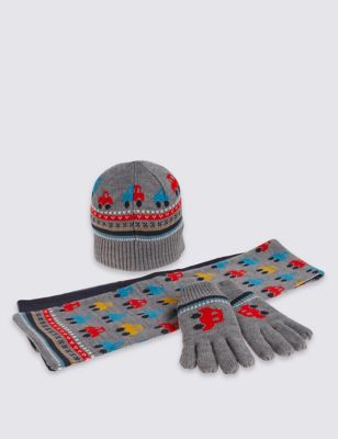 """Комплект для мальчика с принтом """"Транспорт"""": шапка, шарф и перчатки T925810W"""