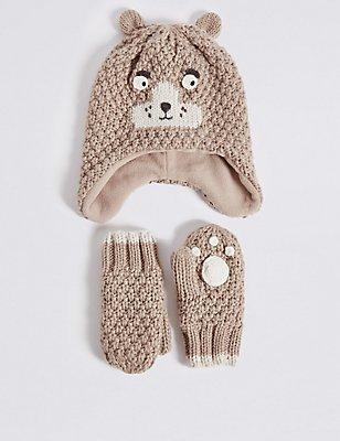 Set aus Mütze und Fausthandschuhen für Kinder, BRAUN MELANGE, catlanding