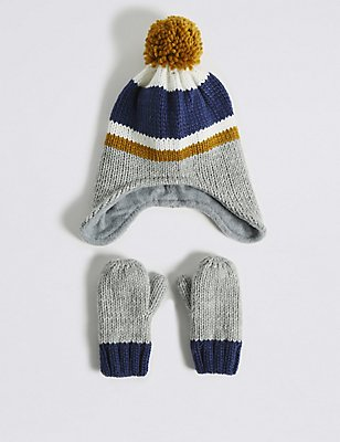 Kids' Striped Hat & Mittens Set, CREAM MIX, catlanding