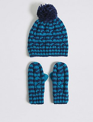 Kids' Striped Hat & Mittens Set, NAVY MIX, catlanding