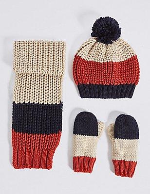 Kids' Striped Hat, Scarf & Mittens Set, CREAM MIX, catlanding