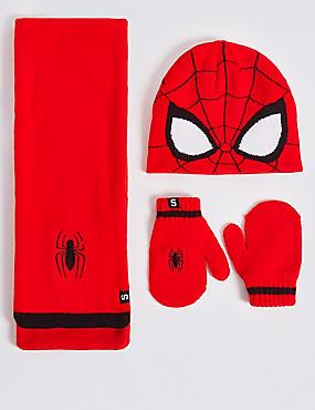 Ensemble bonnet, écharpe et moufles pour enfants à motif Spider-Man™, ROUGE ASSORTI, catlanding