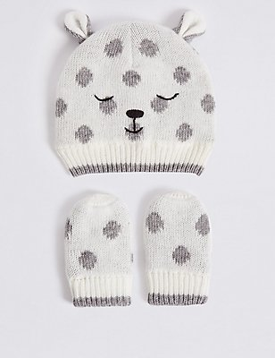 Baby Hat & Mittens Set, CREAM MIX, catlanding