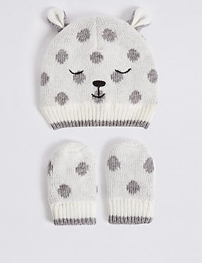 Baby Hat & Mittens Set, CREAM MIX, catlanding