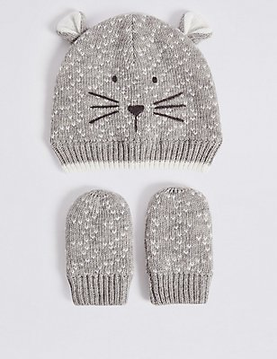 Kids' Hat & Mittens Set, GREY MIX, catlanding