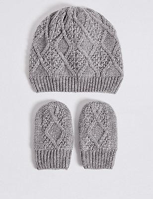 Kids' Hat & Mittens Set, GREY, catlanding