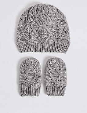 Baby Cable Knit Hat & Mittens Set, GREY, catlanding