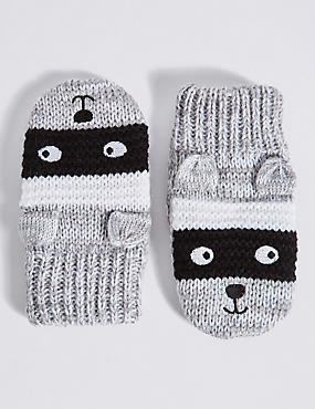 Kids' Animal Print Mittens, GREY MIX, catlanding