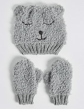 Kids' Bear Hat & Mittens Set, GREY MIX, catlanding