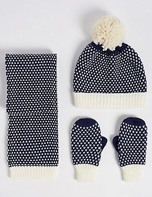 Kids' Hat, Scarf & Gloves Set, NAVY MIX, catlanding