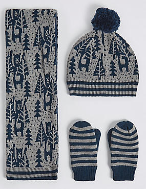 Kids' Christmas Bear Hat, Scarf & Gloves Set, GREY MIX, catlanding