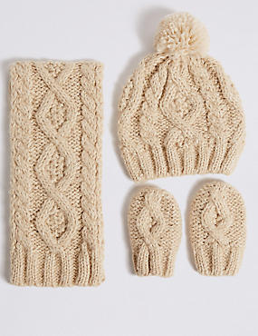Kids' Cable Knit Hat, Scarf & Gloves Set, OATMEAL MIX, catlanding