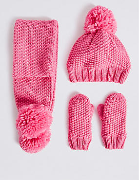 Kids' Hat, Scarf and Mittens Set, PINK, catlanding