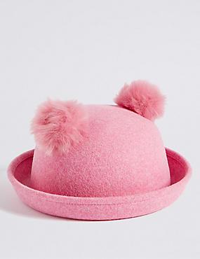Kids' Pure Wool Pom Pom Ears Hat, PINK, catlanding