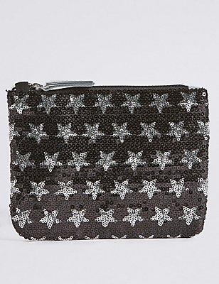 Kids' Faux Leather Sequin Phone Bag, SILVER MIX, catlanding