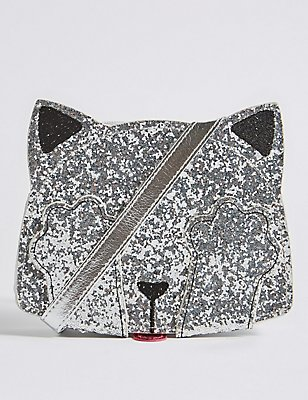 Kids' Faux Leather Sequin Cross Body Bag, SILVER, catlanding