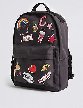 Rucksack mit Emblem für Kinder, SCHWARZ MELANGE, catlanding