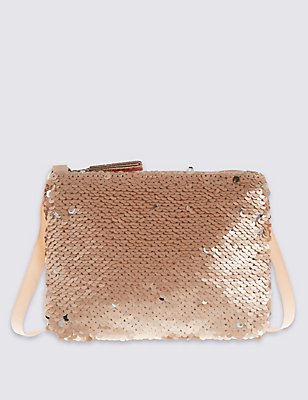 Kids' Faux Leather Sequin Phone Bag, CHAMPAGNE, catlanding