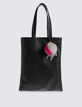 Kids' Faux Leather Shopper Bag, BLACK MIX, catlanding