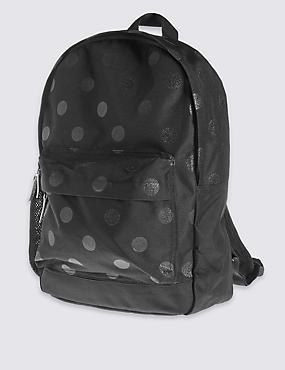 Kids' Back to School Reflective Rucksack, BLACK, catlanding