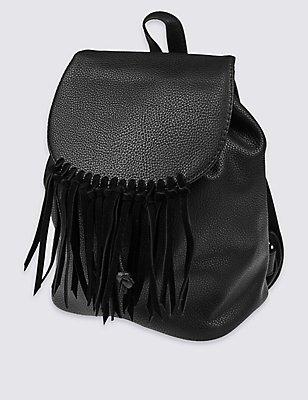 Kids' Tassel Rucksack Bag, BLACK, catlanding
