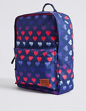 Rucksack mit Herzdesign für Kinder, BLAU MELANGE, catlanding
