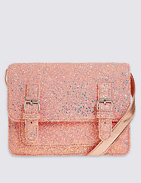Kids' Faux Leather Glitter Satchel, LIGHT PINK, catlanding