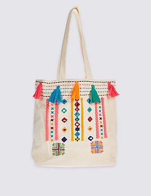 Einkaufstasche für Kinder aus reiner Baumwolle mit Quastendetails, MEHRFARBIG/LEUCHTEND BUNT, catlanding