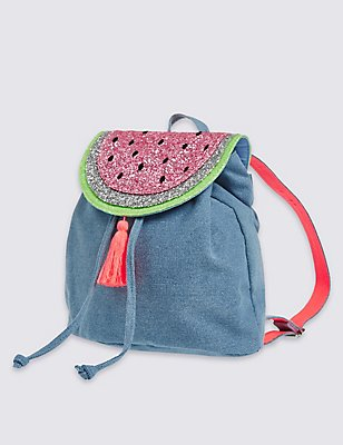 Kids' Pure Cotton Watermelon Rucksack, LIGHT CHAMBRAY, catlanding