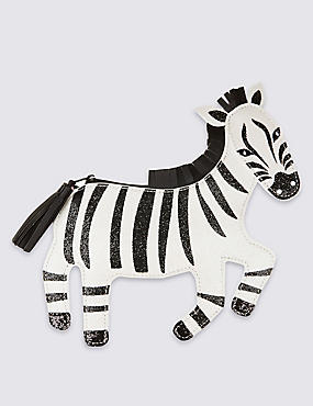 Kid's Faux Leather Zebra Cross Body Bag, BLACK/WHITE, catlanding