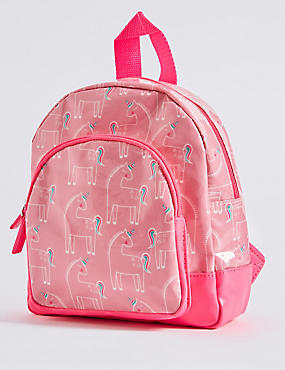 Kids' Faux Leather Unicorn Print Rucksack, PINK MIX, catlanding