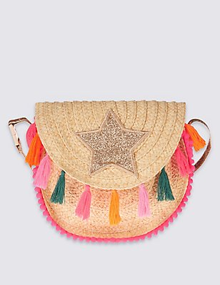 Kids' Tassel Cross Body Bag, LIGHT TAN MIX, catlanding
