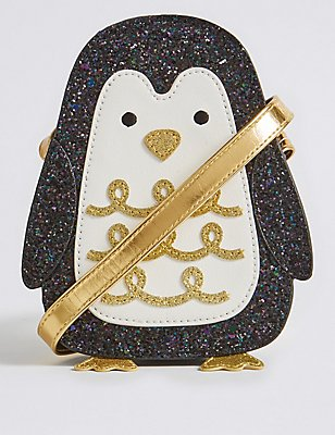 Kids' Penguin Cross Body Bag, BLACK MIX, catlanding