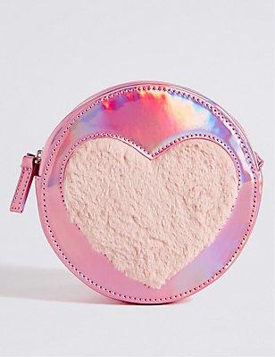 Kids' Faux Leather Heart Cross Body Bag, PINK MIX, catlanding