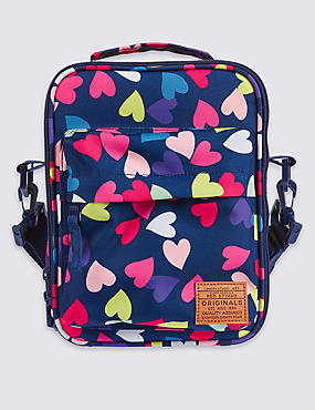 Kids' Heart Print Lunch Bag with Thinsulate™, BLUE MIX, catlanding