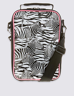 Kids' Zebra Lunch Bag with Thinsulate™, BLACK/WHITE, catlanding