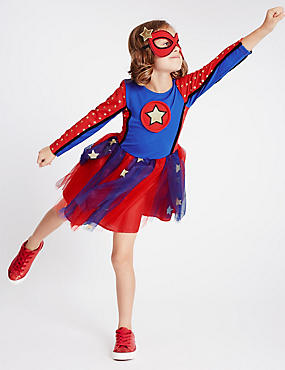 Kids' Super Girl Dress (3-12 Years), RED MIX, catlanding