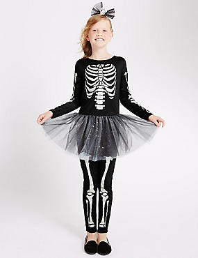 Kids' Skeleton Dress (3-12 Years), BLACK MIX, catlanding