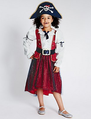 Kids' Pirate Girl Dress, RED MIX, catlanding