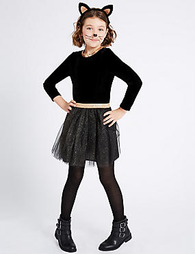Kids' Cat Tutu Fancy Dress Up, BLACK MIX, catlanding