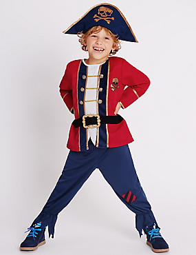 Kids' Pirate Boy Dress Up Costume, RED MIX, catlanding