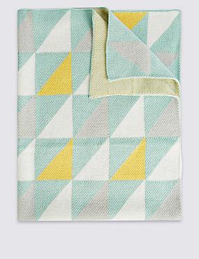 Geometric Print Knitted Shawl, GREEN MIX, catlanding
