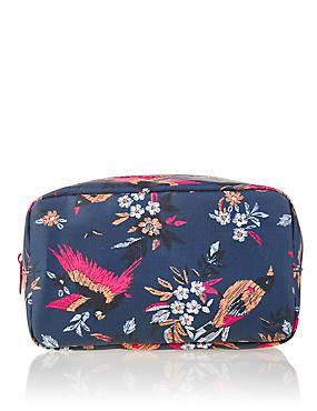 Bird Print Makeup Bag, , catlanding