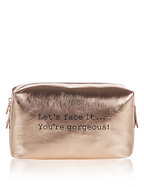 Rose Gold Make Up Bag, , catlanding