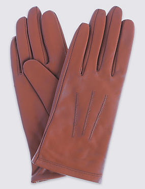 Leather Stitch Detail Gloves, RUSSET, catlanding