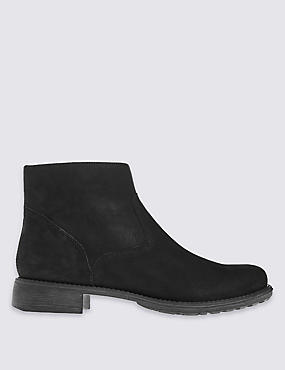 Leather Flat Ankle Boots with Insolia Flex®, BLACK, catlanding