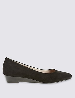 Suede Wedge Pump Shoes, BLACK, catlanding