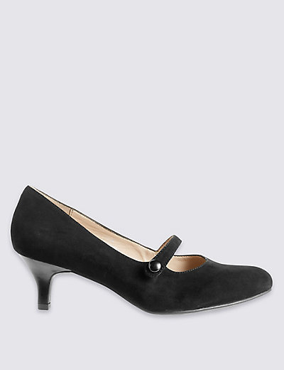Wide fit Suede Kitten Heel Court Shoes | M&ampS