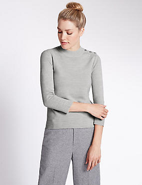 Rippled Turtle Neck 3/4 Sleeve Jumper, GREY MARL, catlanding